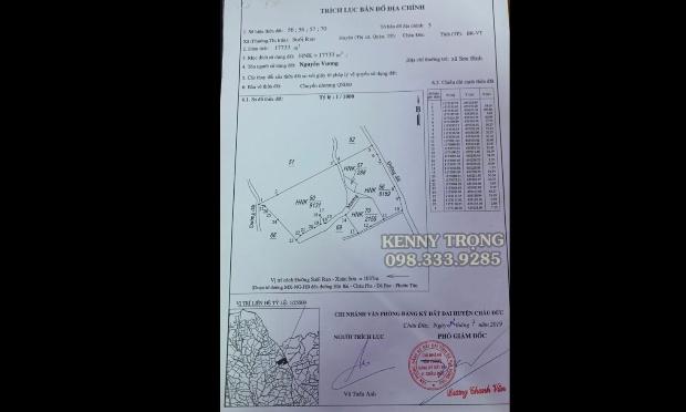 Lô đất 18000m2 mặt tiền đường nhựa 130m nằm ở xã Suối Rao, Huyện Châu Đức, Tỉnh Bà Rịa Vũng Tàu