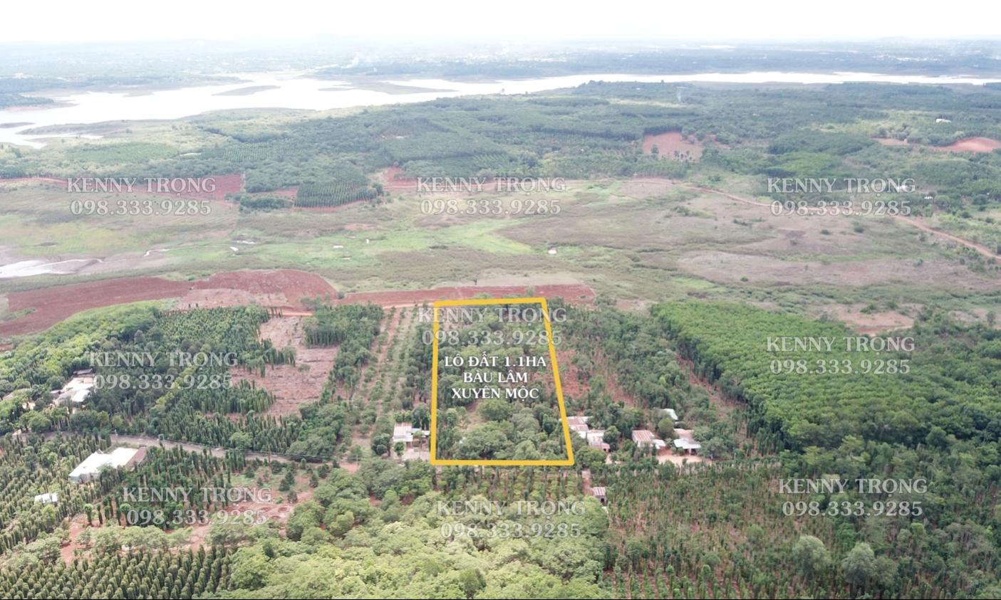 Lô đất 1.1ha có 2 mặt đường trước và sau, gần hồ Sông Ray, 57m mặt tiền