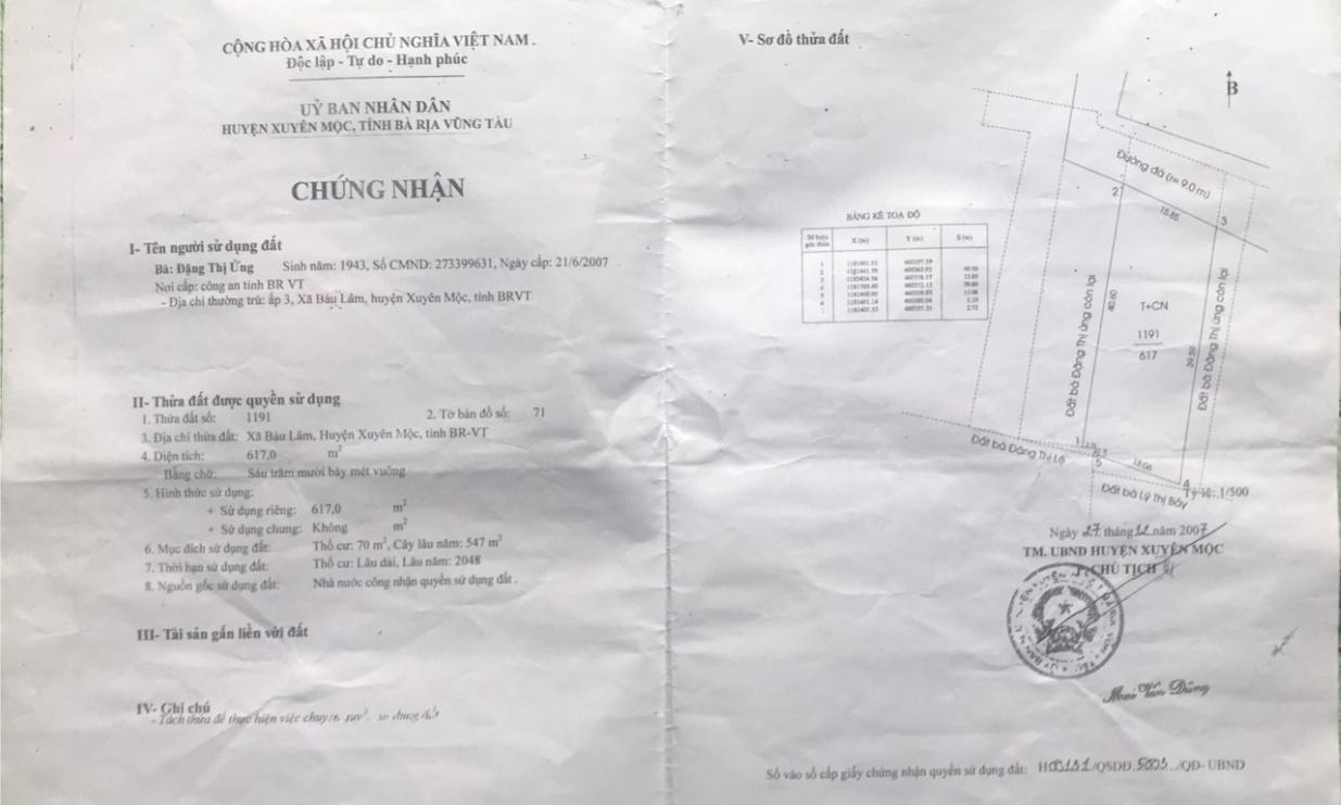 Bán lô đất hơn 600m2 tại Bàu Lâm - Xuyên Mộc - Bà Rịa-Vũng Tàu